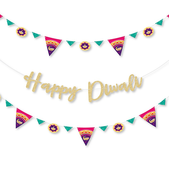 Happy Diwali - Festival of Lights Party Letter Banner Decoration - 36 Banner Cutouts and Happy Diwali Banner Letters