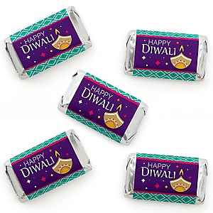 Happy Diwali - Mini Candy Bar Wrapper Stickers - Festival of Lights Party Small Favors - 40 Count