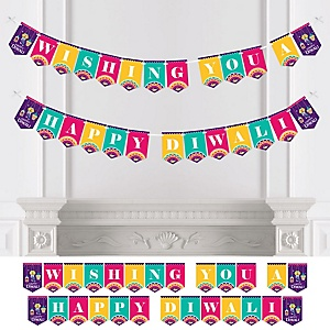 Happy Diwali - Festival of Lights Party Bunting Banner - Party Decorations - Wishing You a Happy Diwali