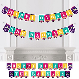 Happy Diwali - Personalized Festival of Lights Party Bunting Banner and Decorations