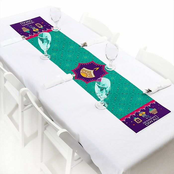 """Happy Diwali - Personalized Petite Festival of Lights Party Table Runner - 12"""" x 60"""""""