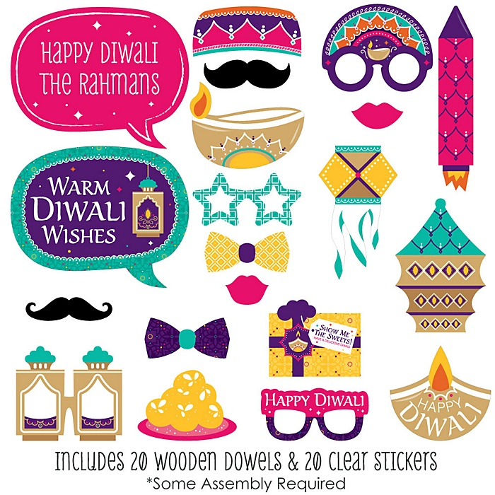 Happy Diwali - 20 Piece Festival of Lights Party Photo Booth Props Kit