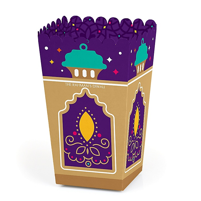 Happy Diwali - Personalized Festival of Lights Party Popcorn Favor Treat Boxes - Set of 12
