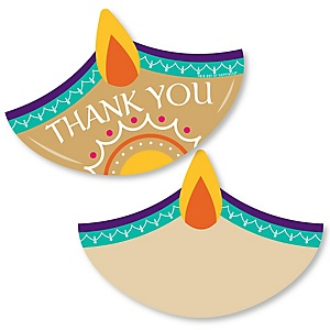 Happy Diwali - Shaped Thank You Cards - Festival of Lights Party Thank You Note Cards with Envelopes - Set of 12