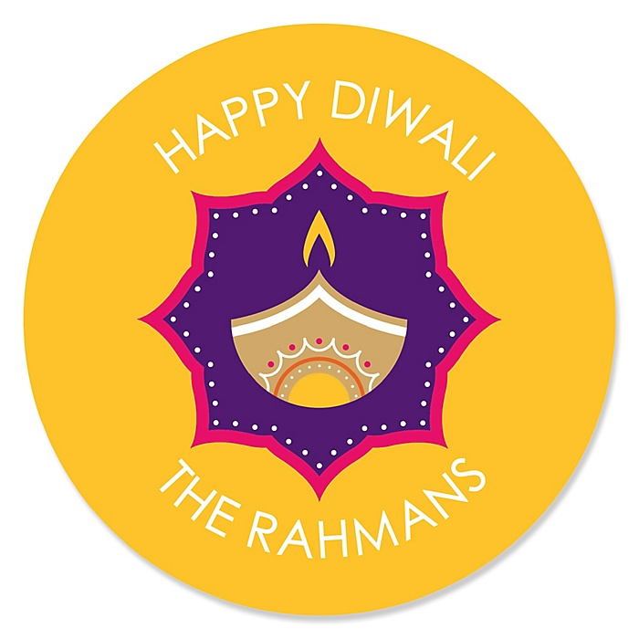 Happy Diwali - Round Personalized Festival of Lights Party Sticker Labels - 24 ct