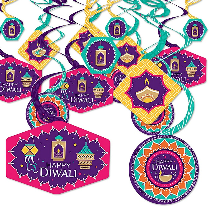 Happy Diwali - Festival of Lights Party Hanging Decor - Party Decoration Swirls - Set of 40