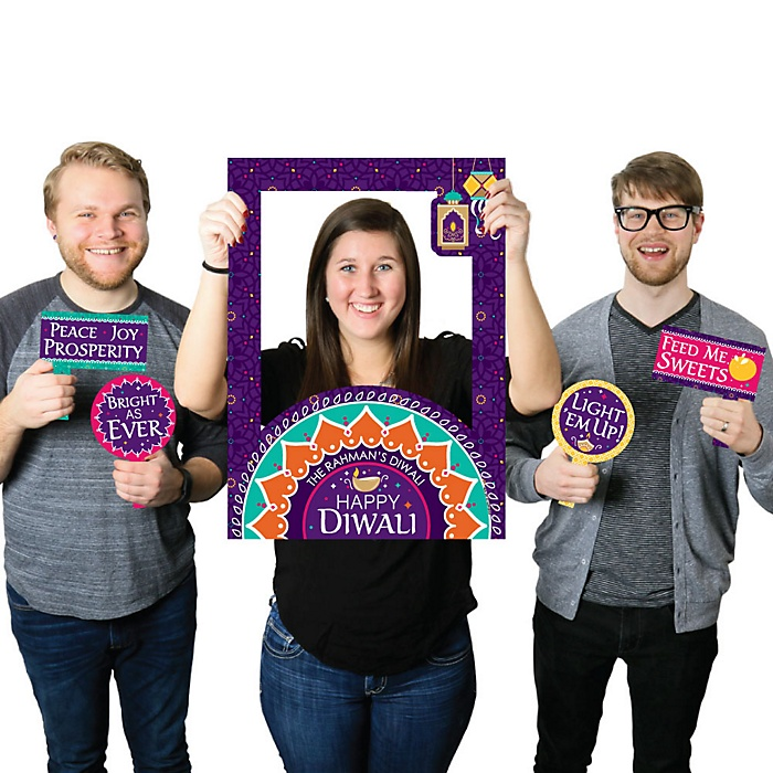 Happy Diwali - Personalized Festival of Lights Party Selfie Photo Booth Picture Frame & Props - Printed on Sturdy Material