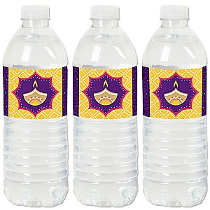 Happy Diwali - Festival of Lights Party Water Bottle Sticker Labels - Set of 20