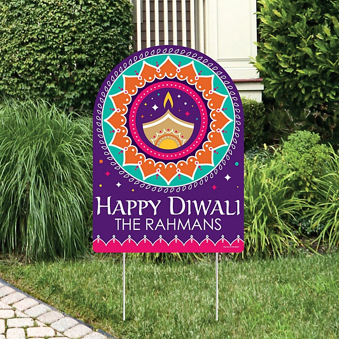 Happy Diwali - Party Decorations - Festival of Lights Party Personalized Welcome Yard Sign