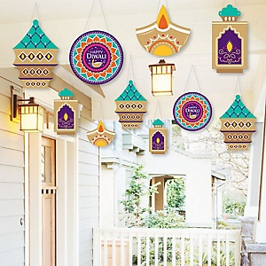 Hanging Happy Diwali - Outdoor Festival of Lights Hanging Porch & Tree Decorations - 10 Pieces