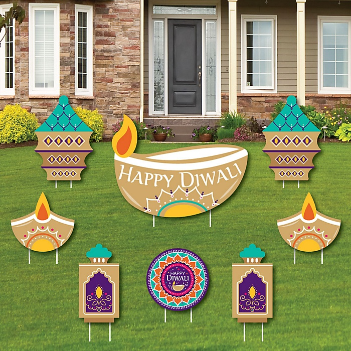 Happy Diwali - Yard Sign & Outdoor Lawn Decorations - Festival of Lights Party Yard Signs - Set of 8