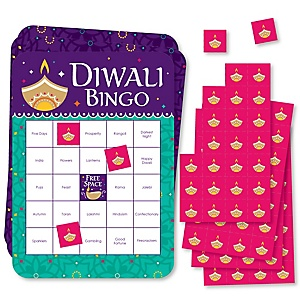 Happy Diwali - Bingo Cards and Markers - Festival of Lights Party Bingo Game - Set of 18