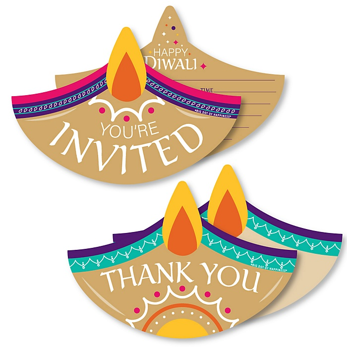 Happy Diwali - 20 Shaped Fill-In Invitations and 20 Shaped Thank You Cards Kit - Festival of Lights Party Stationery Kit - 40 Pack