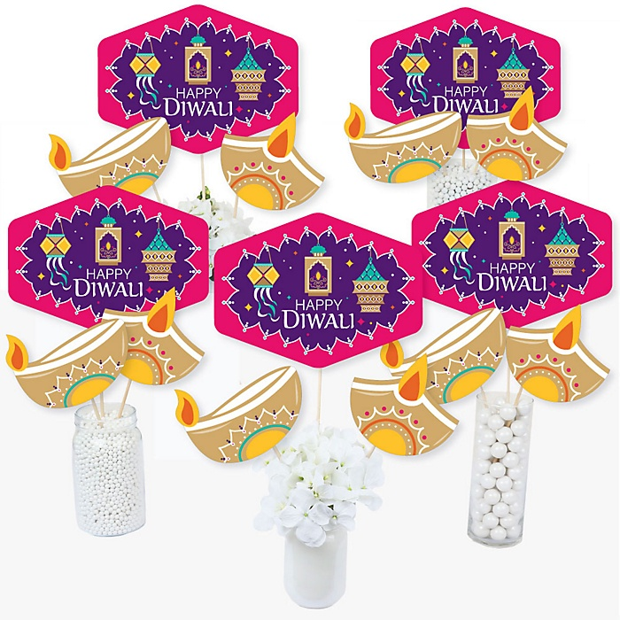 Happy Diwali - Festival of Lights Party Centerpiece Sticks - Table Toppers - Set of 15