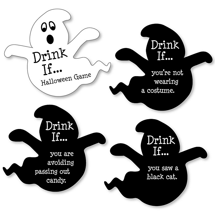 Drink If Game - Spooky Ghost - Halloween Party Game - Set of 24