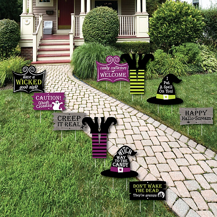 Happy Halloween - Lawn Decorations - Outdoor Witch Party Yard Decorations - 10 Piece