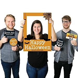 Trick or Treat - Personalized Halloween Party Photo Booth Picture Frame & Props - Printed on Sturdy Material