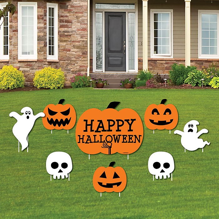 Trick or Treat - Yard Sign & Outdoor Lawn Decorations - Halloween Party Yard Signs - Set of 8