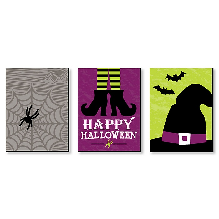 Happy Halloween - Witch Wall Art and Cute Halloween Decorations - 7.5 x 10 inches - Set of 3 Prints