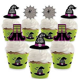 Happy Halloween - Cupcake Decorations - Witch Party Cupcake Wrappers and Treat Picks Kit - Set of 24