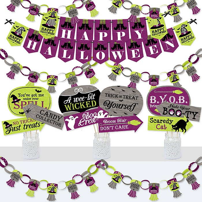 Happy Halloween - Banner and Photo Booth Decorations - Witch Party Supplies Kit - Doterrific Bundle