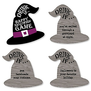 Drink If Game - Happy Halloween - Witch Party Game - 24 Count