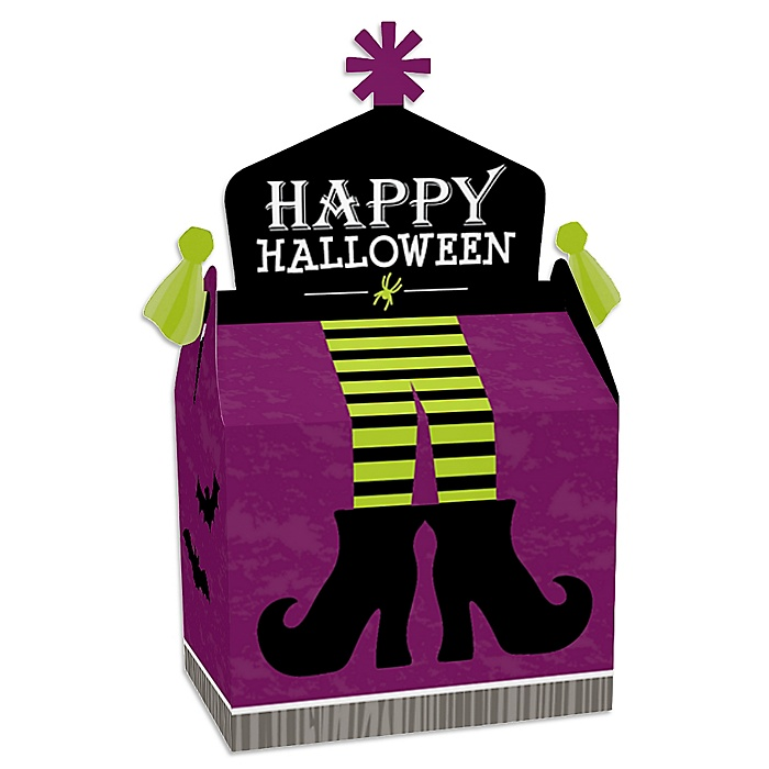Happy Halloween - Treat Box Party Favors - Witch Party Goodie Gable Boxes - Set of 12