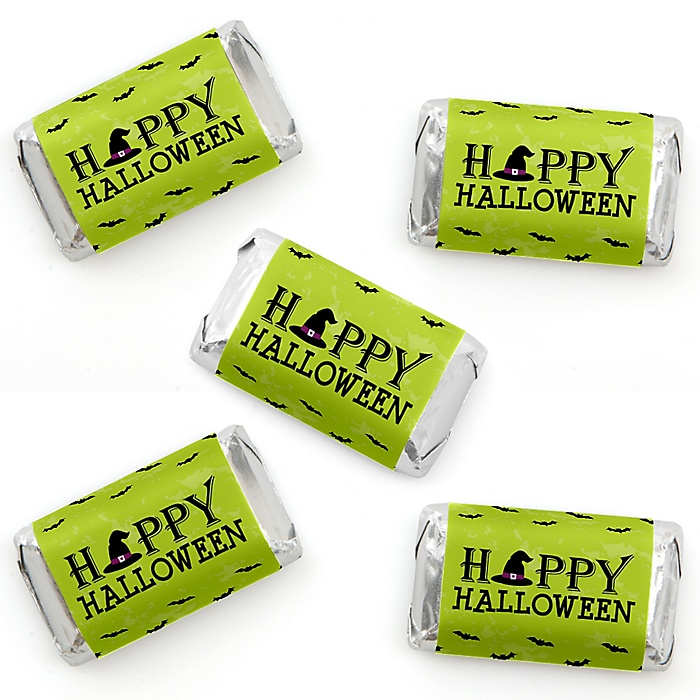 Happy Halloween - Mini Candy Bar Wrappers Stickers - Witch Party Small Favors - 40 Count