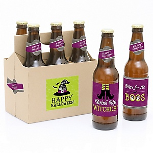Happy Halloween - Decorations for Women and Men - 6 Birthday Party Beer Bottle Label Stickers and 1 Carrier