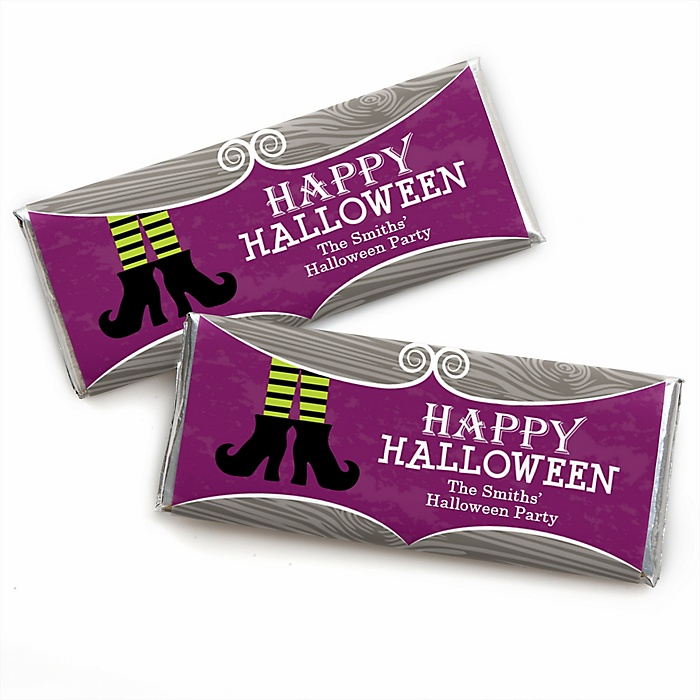 Happy Halloween - Personalized Candy Bar Wrapper Witch Party Favors - Set of 24
