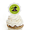 Happy Halloween - Cupcake Picks with Personalized Stickers - Witch Party Cupcake Toppers - 12 ct