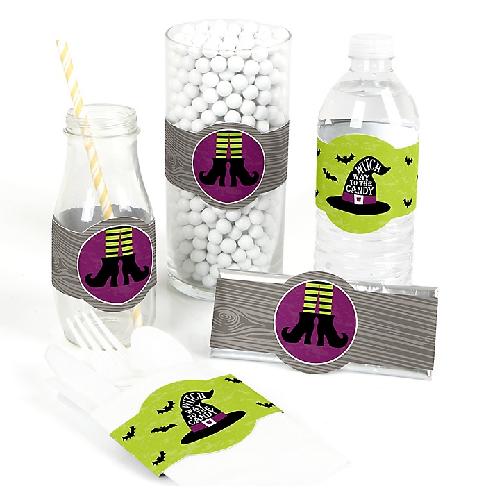 Happy Halloween - DIY Party Supplies - Witch Party DIY Wrapper Favors and Decorations - Set of 15