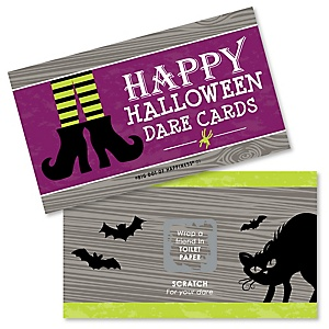 Happy Halloween - Witch Party Game Scratch Off Dare Cards - 22 Count
