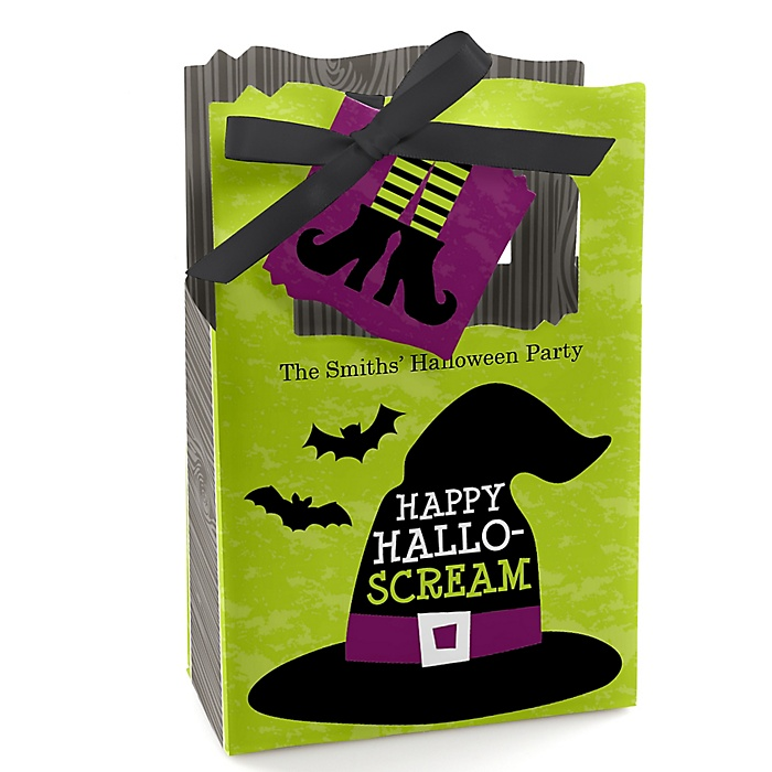 Happy Halloween - Personalized Witch Party Favor Boxes - Set of 12