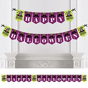 Happy Halloween - Personalized Birthday Party Bunting Banner and Decorations