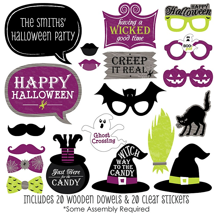 Happy Halloween - 20 Piece Witch Party Photo Booth Props Kit