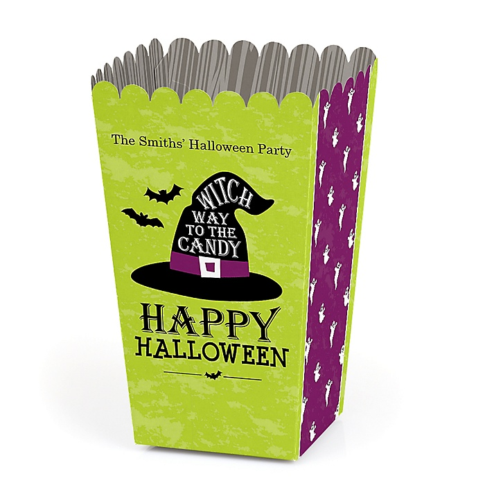 Happy Halloween - Personalized Witch Party Favor Popcorn Treat Boxes - Set of 12