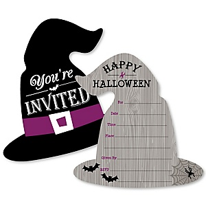 Happy Halloween - Shaped Fill-In Invitations - Witch Party Invitation Cards with Envelopes - Set of 12