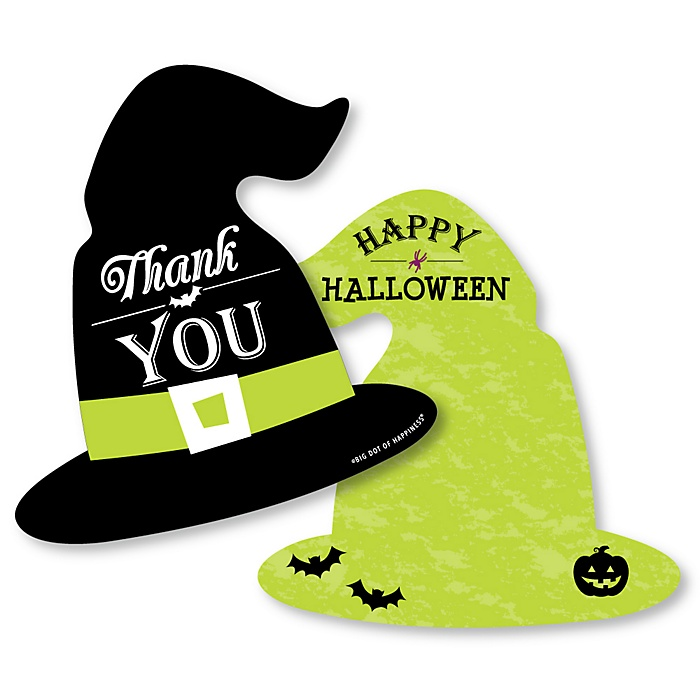 Happy Halloween - Shaped Thank You Cards - Witch Party Thank You Note Cards with Envelopes - Set of 12