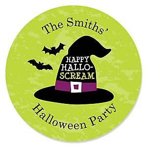 Happy Halloween - Personalized Witch Party Sticker Labels - 24 ct