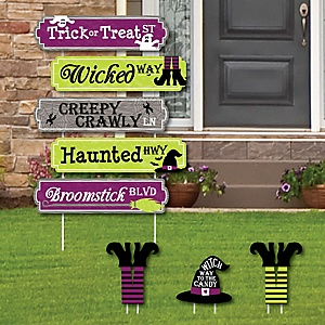 Happy Halloween Street Sign Cutouts - Witch Party Yard Signs & Decorations - Set of 8