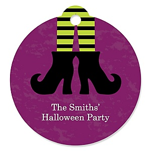 Happy Halloween - Round Personalized Witch PartyTags - 20 ct