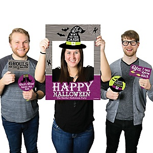 Happy Halloween - Personalized Witch Party Selfie Photo Booth Picture Frame and Props - Printed on Sturdy Material