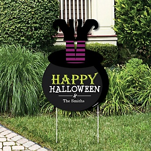 Happy Halloween - Party Decorations - Witch Party Personalized Welcome Yard Sign