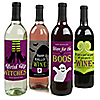 Happy Halloween - Witch Party Wine Bottle Label Stickers - Set of 4