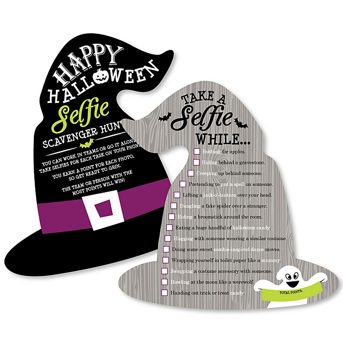 Happy Halloween - Selfie Scavenger Hunt - Witch Party Game - Set of 12