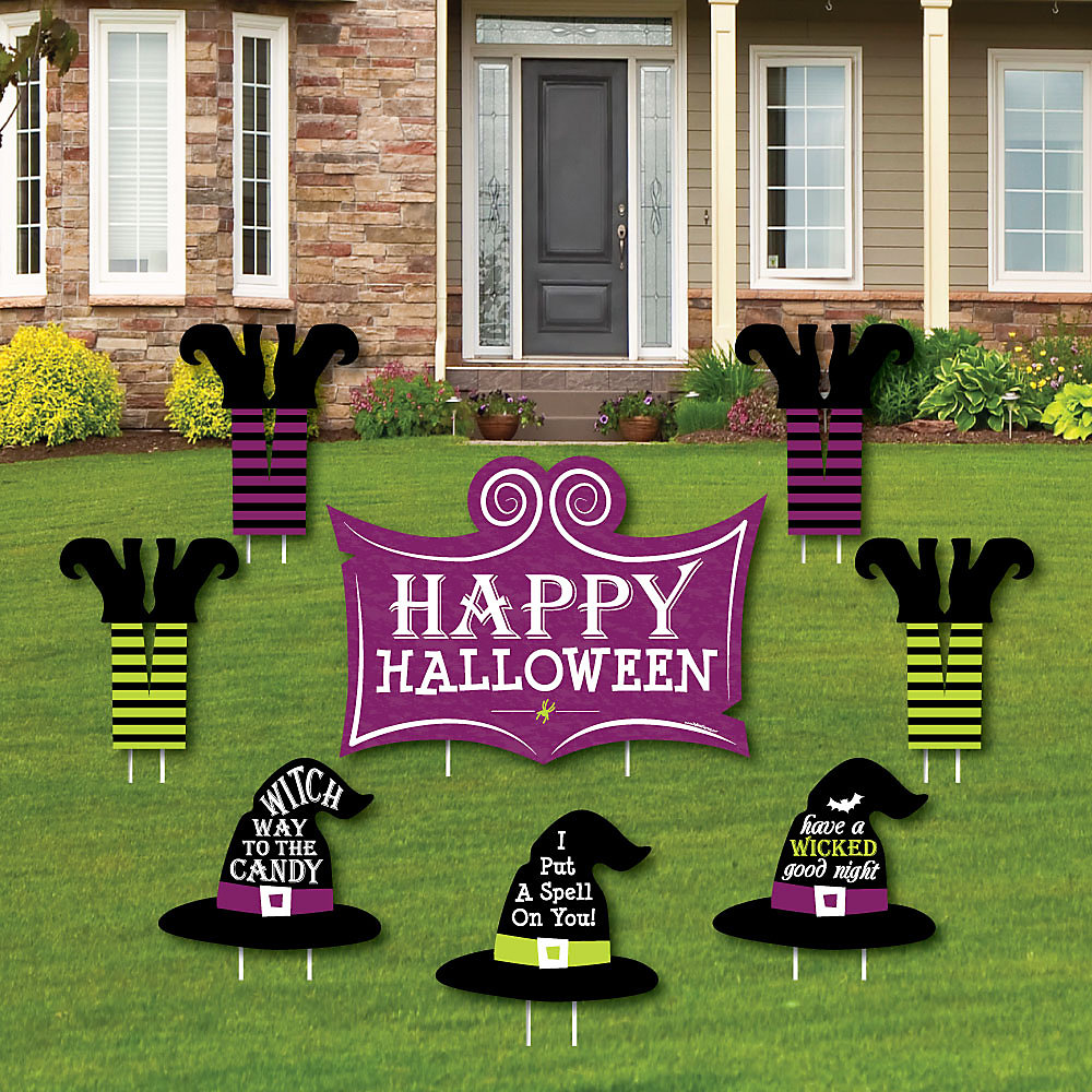 Happy Halloween Yard Sign And Outdoor Lawn Decorations Witch Party Yard Signs Set Of 8