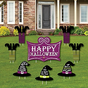 Happy Halloween - Yard Sign and Outdoor Lawn Decorations - Witch Party Yard Signs - Set of 8