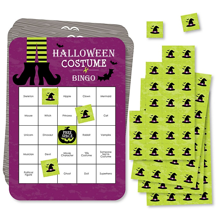 Happy Halloween - Bar Bingo Cards and Markers - Witch Party Shaped Bingo Game - Set of 18