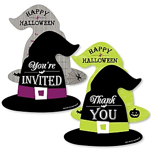 Happy Halloween - 20 Shaped Fill-In Invitations and 20 Shaped Thank You Cards Kit - Witch Party Stationery Kit - 40 Pack